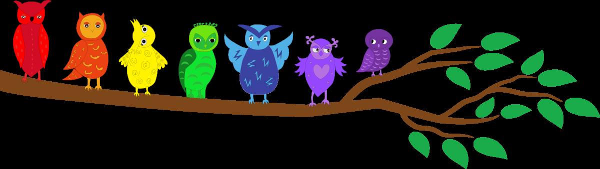Rainbow Owls on Branch